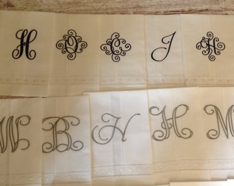Linen Cotton Powder Room Towel with Initial