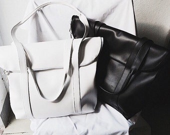 White Foldover Tote Bag Faux Leather Tote Shoulder School Bag Beach Handbag