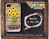 Sunflower iPhone Case, Personalized Phone Case, Mason Jar iPhone Case, Floral iPhone Case, iPhone 4, 4s, iPhone 5, 5s, 5c, iPhone 6, 6 Plus