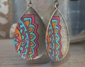 Tribal Earrings, Hand Painted Earrings, Brass Tribal Earrings