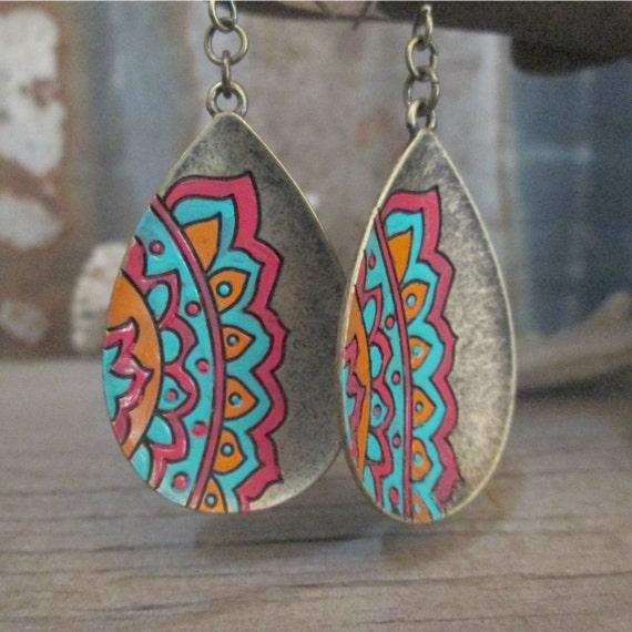 Tribal Earrings, Brass Earrings, Hand Painted Earrings, Brass Tribal Earrings