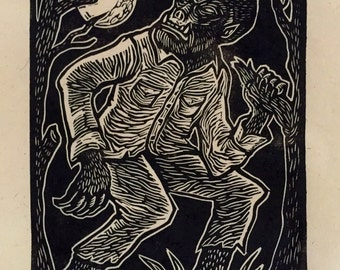 Wolfman Block Print