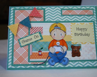 Game on - Handmade Birthday Card - Stamp of Boy playing Video Games with Dog, Card is ready to ship