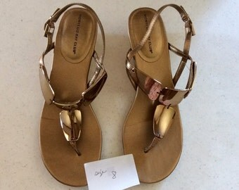 Gold Metallic Flip Flop Sandals by Montego Bay Club, Size 8