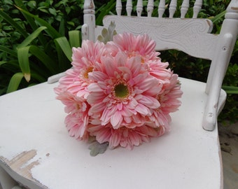 Bridesmaid bouquet designed with pink gerber daises