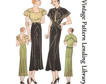 1930s Ladies Schiaparelli Ensemble - Reproduction Sewing Pattern #T2301