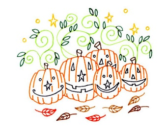 Halloween Pumpkin Patch Jack-O-Lantern Embroidery Pattern Printable Digital Downloadable Hand Embroidery 0016