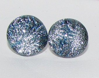 Silver Ridges Dichroic Glass Post Earrings