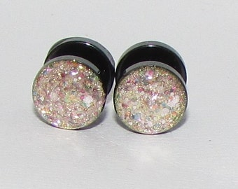 Rose Gold Remix Glitter Fake Plugs