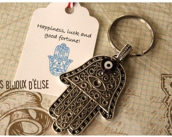 Big  Hand of Fatima/Hamsa Keychain with a Little Heart