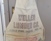 Vintage Full Apron Carpenter Working Man Weller Lumber Company Advertisement MaggieandNicky Free USA Shipping