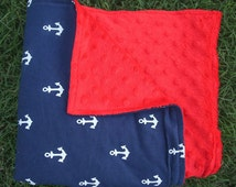 Navy Blue Anchor Blanket with Red Minky, Gender Neutral Gift, Baby Boy Blanket, Baby Gift, Photo Prop, Welcome Baby, Hospital Gift
