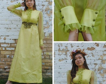 Chartreuse Ruffles and Bow Dress