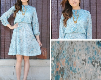 Pastel Blue and Floral Dress