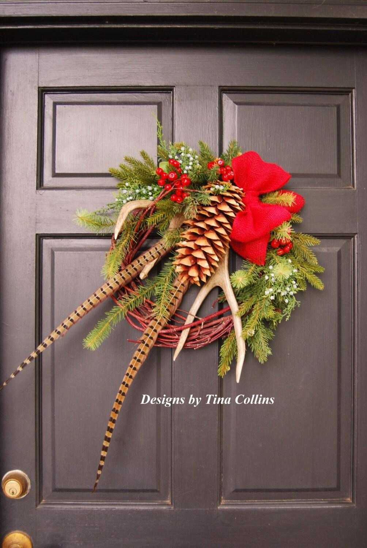 Christmas wildlife woodland antler wreath by for Antler christmas wreath