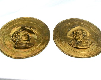 Vintage set 2 solid brass high relief plates 11 inch wall plaques pair Victorian Woman Man