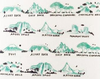 Roundtop Spacecraft Mountain Japanese Washi Tape