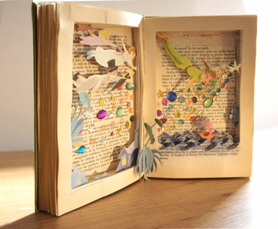 Peter pan altered book sculpture book by laliblueshop for Arnal decoration