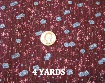 Cottage Chic Fabric Burgundy Fabrics Small Blue Flower Fabric