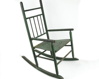 Antique Child's Rocking Chair, Green Painted Children's Chair, Painted Wood Chair, Antique Furniture, Child's Rocker, Antique Rocker