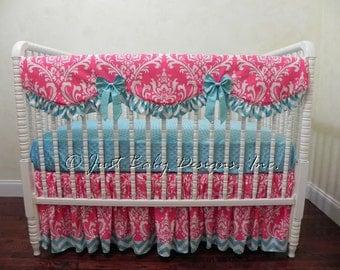 Custom Bumperless Crib Bedding Set Clarice - Girl Baby Bedding, Teething Rail Guard, Hot Pink Crib Bedding, Aqua Crib Bedding