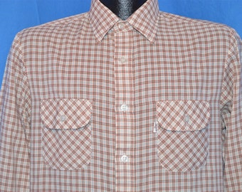 70s Levi's Big E Wildfire White Brown Blue Plaid Button Down Shirt Small Tapered Fit