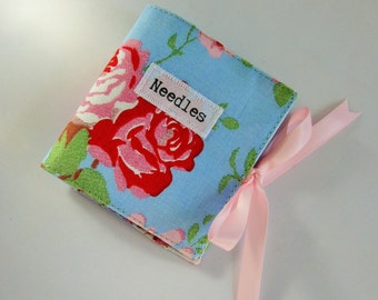 Handmade Sewing Needle Case with Blue Vintage Floral Print with Applique
