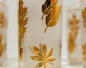 Vintage Starlyte Frosted Gold Leaf Golden Foliage Glasses High Ball Tumblers Libbey Anchor Hocking -Set of 8