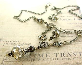Steampunk Necklace - Neo Victorian Vintage Antique Style Swarovski Necklace - Brown Steampunk Jewelry - Brass Steampunk Wedding Necklace
