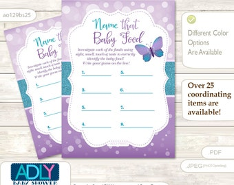 Purple Butterfly  Name That Food, Baby Food guess Game Printable Card for Baby Butterfly Shower DIY Bokeh Turquoise -ao129bs25