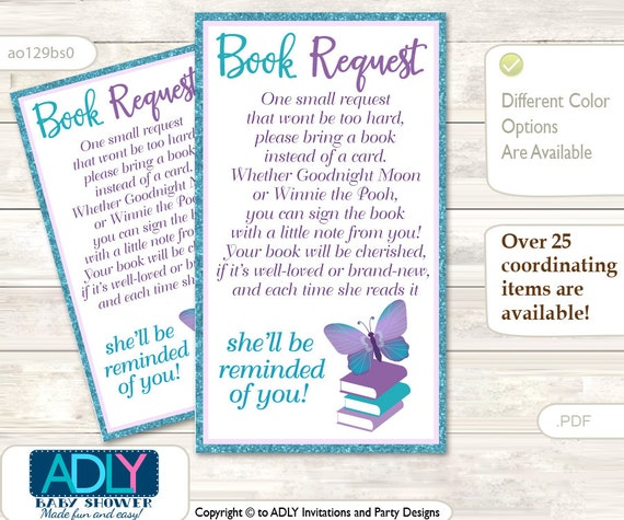 purple butterfly book request baby shower printable diy tickets