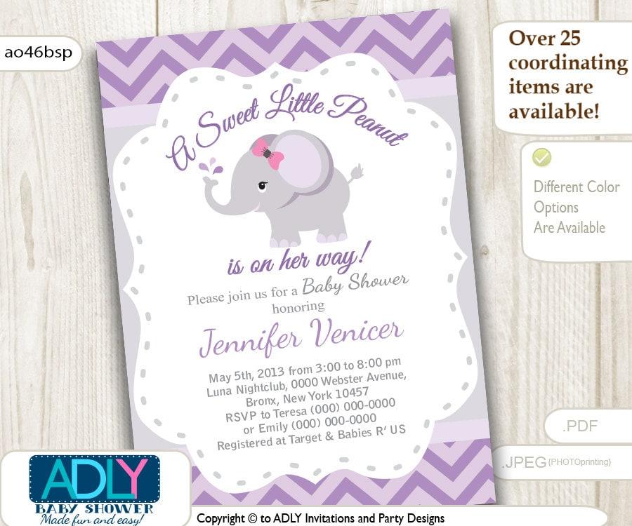 Purple Grey Elephant Invitation For Baby Shower. Little Peanut