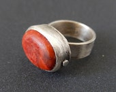 Boho Chic Sterling Silver Ring - Artisan ring - Simple Oval Ring - Coral Bezel Jewelry - Adjustable Ring