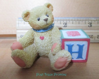Cherished Teddy with Initial 'H' Block - Vintage Resin Figurine