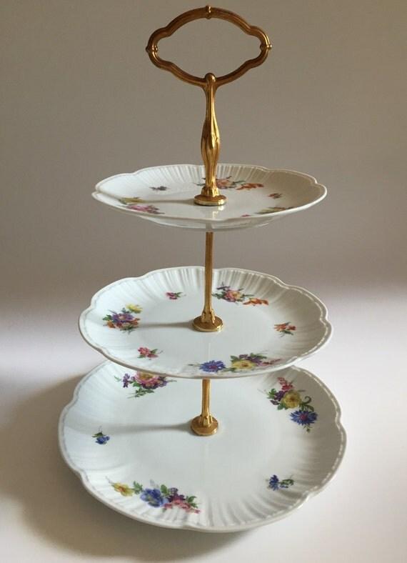 Vintage Kaiser West Germany 3 Tier Porcelain Plate Cake Stand