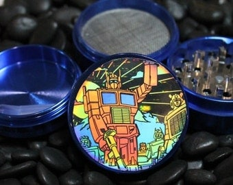 Transformers Hologram on herb grinder 4 piece aluminum with scraper