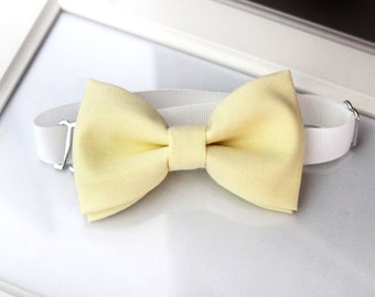 Pale yellow bow-tie for baby toddler teens adult - Adjustable neck-strap - Light yellow bow tie