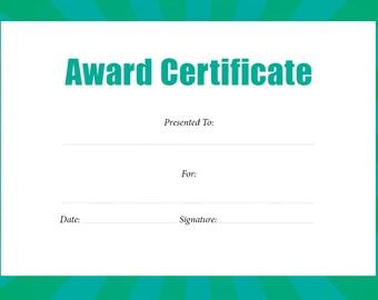 Award Certifcate