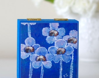 Blue Small Jewellery Box, Floral Art Print Wooden Box, Blue Storage Box with Flowers, electric Blue Decorative Box, Pansies Wooden Box