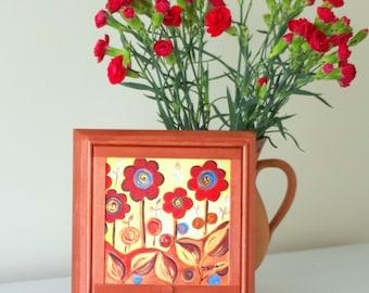 Brown Floral Jewellery Box, Make-up Vanity Box, Orange Flowers Storage Box, Metallic Copper Decorative Box