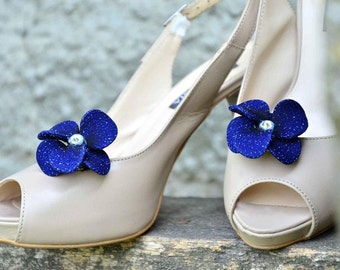 Bridesmaid shoe clips Navy blue shoe clips Bridal flower for shoe Shoe clips Bridesmaid gift