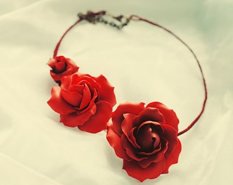 Elegant blood-red roses necklace, polymer clay art piece