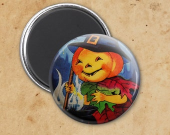 Jack o' Latern Witch Vintage Halloween Magnet