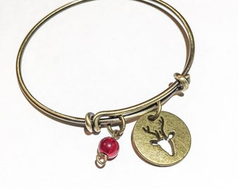 Rudolph and his red nose bangle, reindeer bangle, reindeer bracelet, reindeer charm, christmas jewelry, christmas bangle