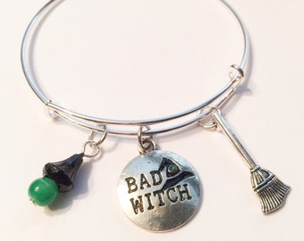 Bad witch bangle, halloween jewelry