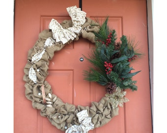Burlap Wreath, Simple Burlap Wreath, Christmas Wreath, New Year Wreath, Wreath, Holiday Wreath