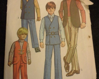 70s Boy's vest, pants , shirt Simplicity vintage pattern 9336 Size 6 toddler