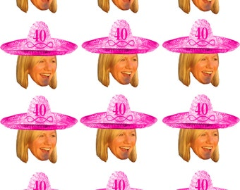 Printable DIY Do it yourself Personalized sombrero party photo cupcake toppers .
