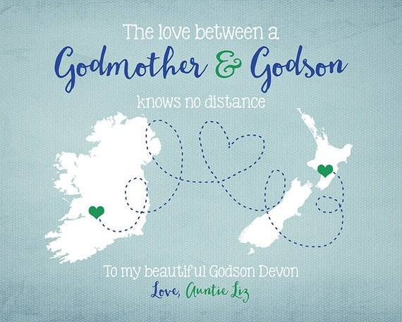 Happy Birthday Godmother Card: Godson Godmother Long Distance Two Maps Personalized Gift