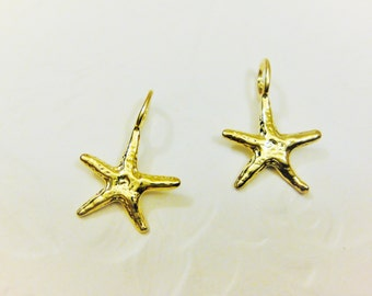 2pc 18k gold over 925 sterling silver shiny starfish charm , vermeil starfish charm 2 pc., shiny gold